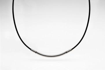 METAX Halskette Rund, Silber/Schwarz